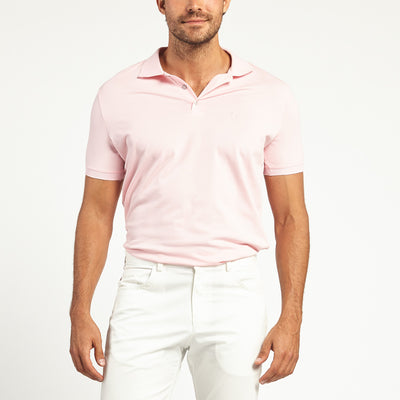SHORT SLEEVE PINK KNIT COTTON POLO