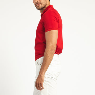 SHORT SLEEVE RED KNIT COTTON POLO