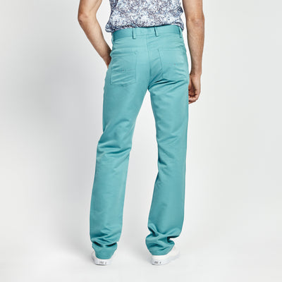 STRAIGHT FIT TURQUOISE STITCHED POCKET PANT