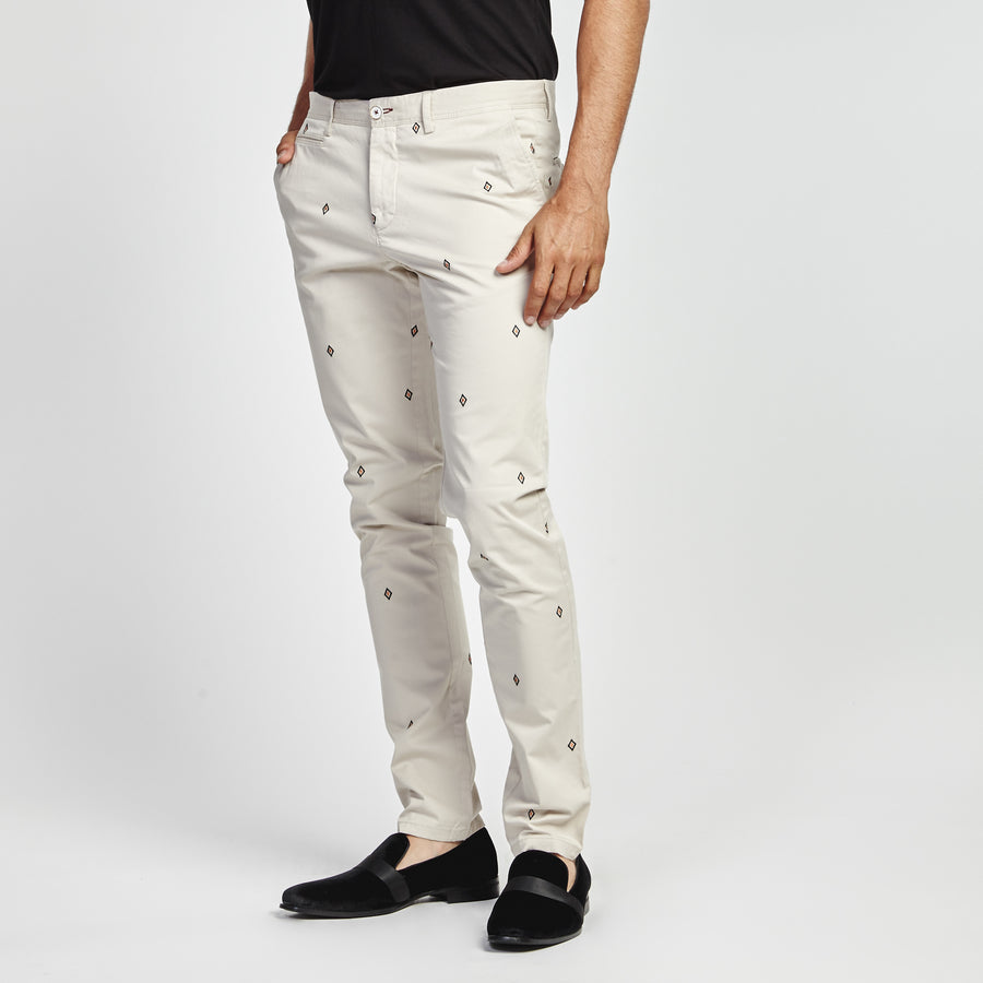 STRAIGHT KHAKI DIAMOND PRINT POCKET PANT