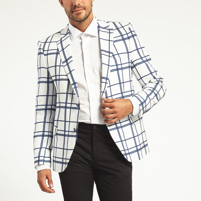 WHITE WINDOWPANE PLAID TWO BUTTON SUITJACKET