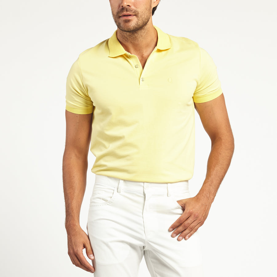 SHORT SLEEVE YELLOW KNIT COTTON POLO