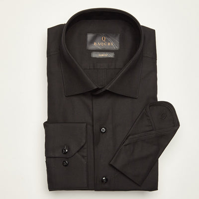 SLIM FIT LONG SLEEVE BLACK OXFORD COTTON SHIRT