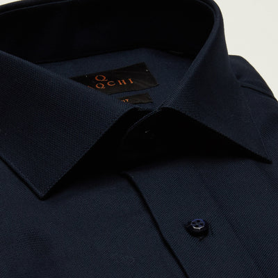 SLIM FIT LONG SLEEVE NAVY OXFORD COTTON SHIRT