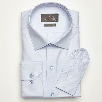 SLIM FIT LONG SLEEVE LIGHT BLUE OXFORD COTTON SHIRT