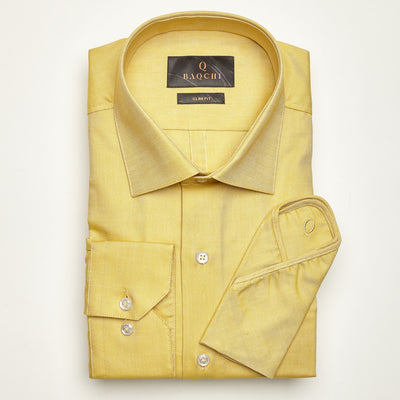 SLIM FIT LONG SLEEVE MUSTARD OXFORD COTTON SHIRT