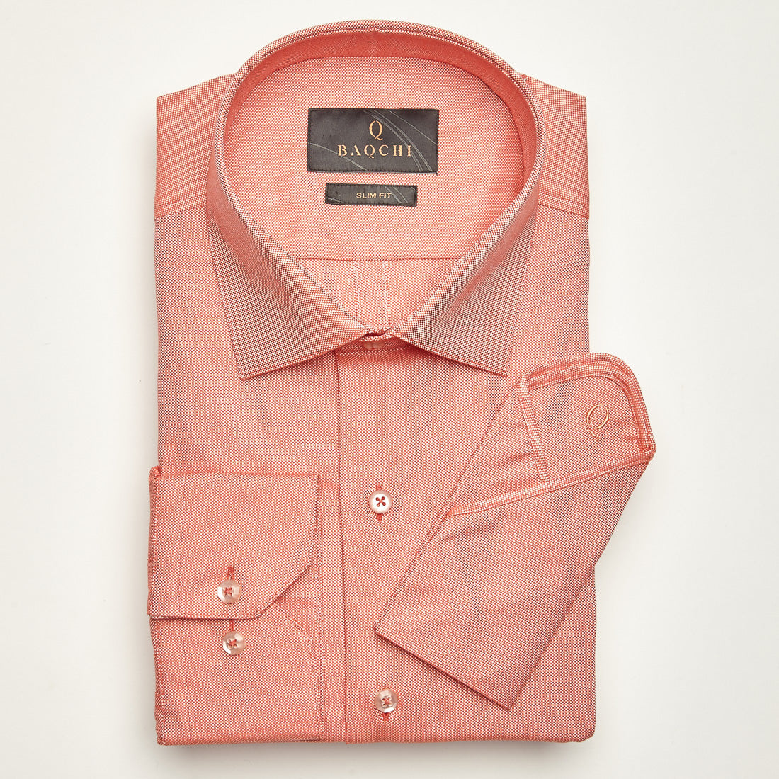 Slim Fit Long Sleeve Coral Oxford Cotton Shirt Baqchi