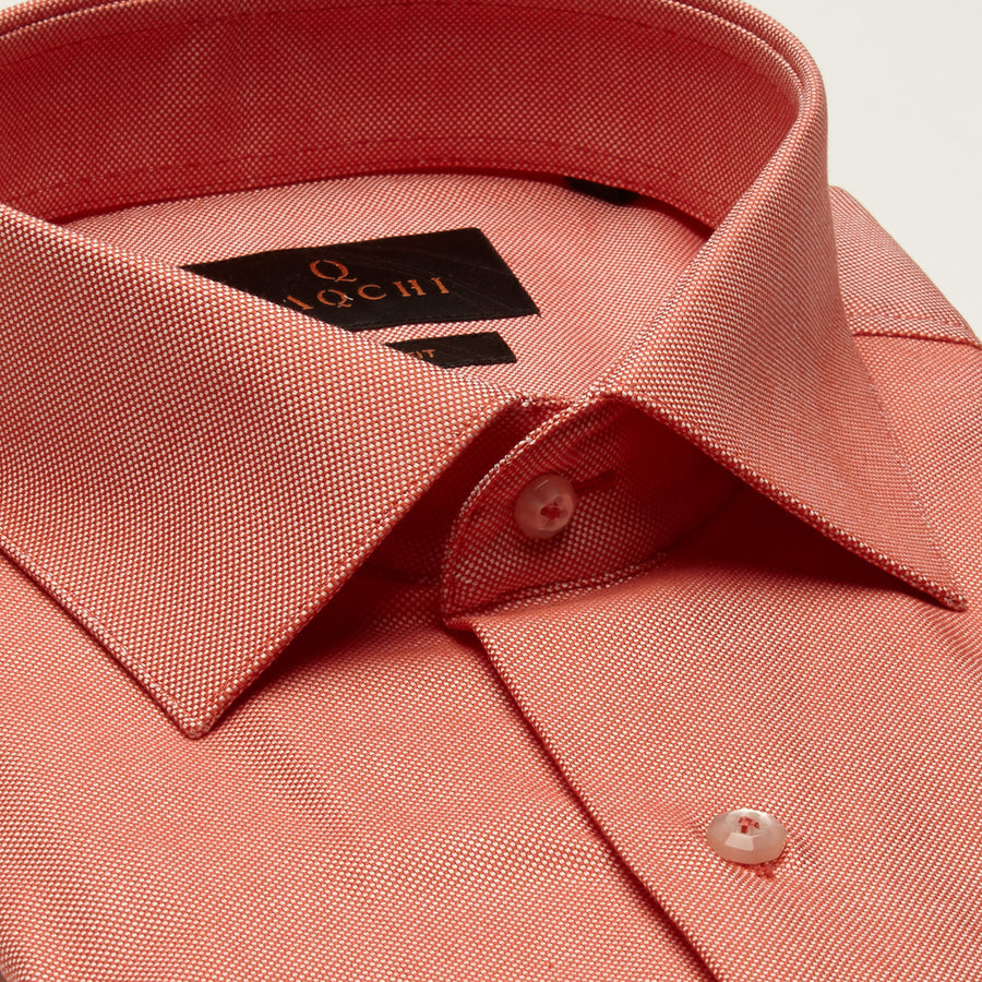 SLIM FIT LONG SLEEVE CORAL OXFORD COTTON SHIRT