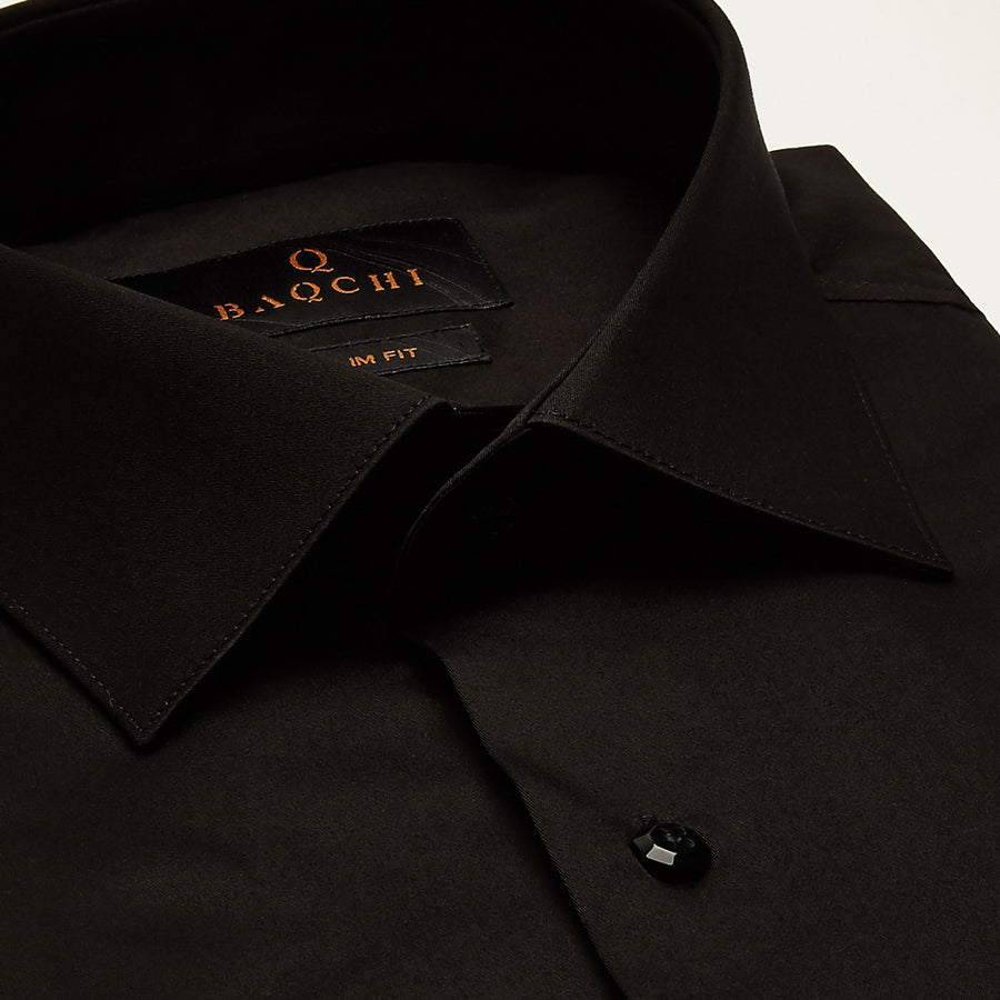 SLIM FIT LONG SLEEVE BLACK DUBAI COTTON SHIRT