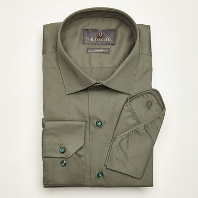 SLIM FIT LONG SLEEVE GREEN MEXICO CITY COTTON SHIRT