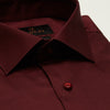 SLIM FIT LONG SLEEVE MAROON BARCELONA COTTON SHIRT