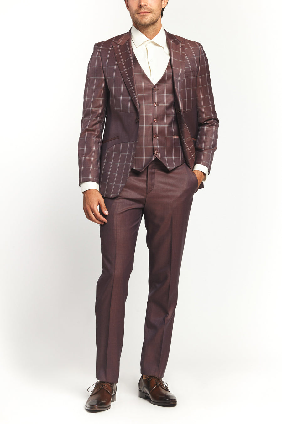 CLASSIC BURGUNDY PATTERN 2-PIECE SUIT