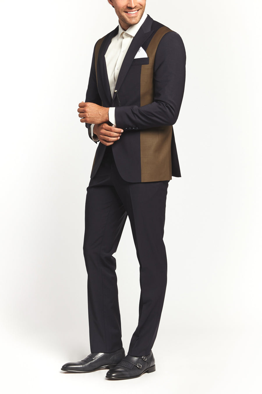 CLASSIC DARK BLUE/BEIGE 2-PIECE SUIT