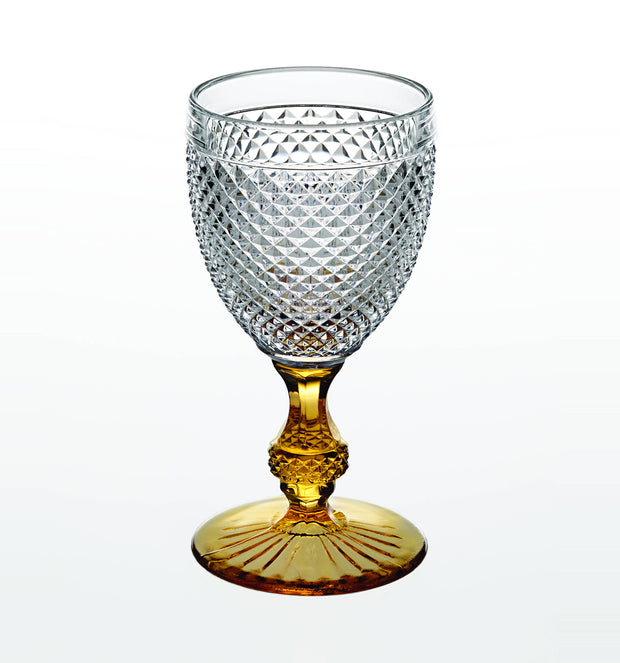 Bicos bicolor Goblet with Ambar Stem SET of 2 - Le Papillon Gallery