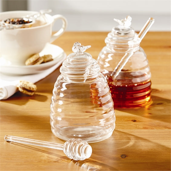 Honey Pot with Lid and Dipping Stick