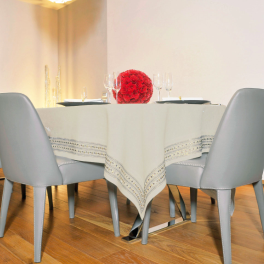 Claudia Barbari Etno Chic Tablecloth Natural/Gold - Le Papillon Gallery