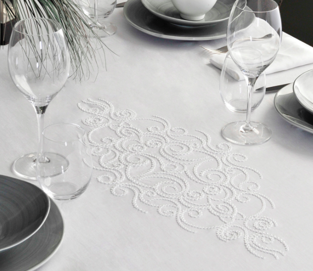 Claudia Barbari Jasmine Tablecloth White