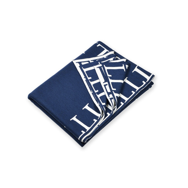 Lenz & Leif Blanket 140x180 cm Dark Blue & White 100% Superfine Merino Wool - Le Papillon Gallery