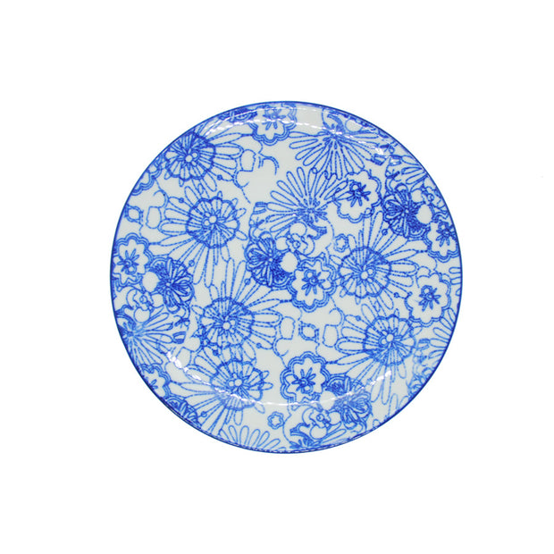 Vagabond Blue and White Round Plate S4B - Le Papillon Gallery
