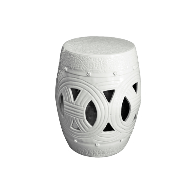 Legend of Asia Carved Rope Stool - White - Le Papillon Gallery