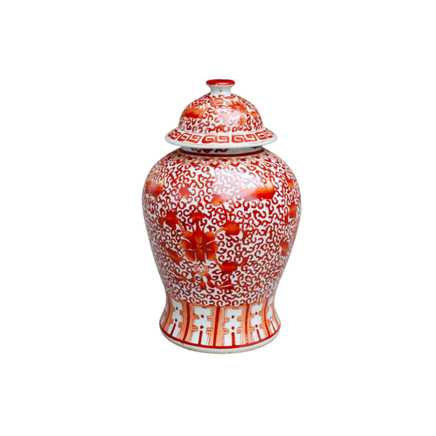 Legend of Asia Coral Red Twisted Lotus Temple Jar