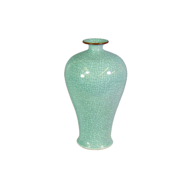 Legend of Asia Crackle Celadon Prunus Vase with Brown Lip - Le Papillon Gallery