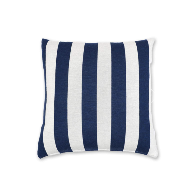 Lenz & Leif Cushion Cover 50x50 cm Dark Blue & White Stripes 100% Superfine Merino Wool - Le Papillon Gallery