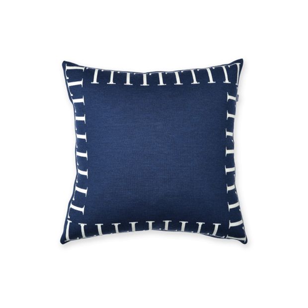 Lenz & Leif Cushion Cover 50x50 cm Dark Blue & White 100% Superfine Merino Wool - Le Papillon Gallery