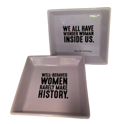 Two's Company Small Porcelain Tray with Words and Icons - Le Papillon Gallery