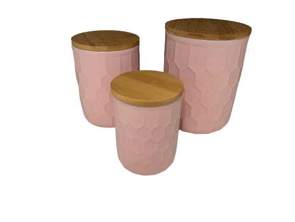 Bloomingville Set of 3 Pink Ceramic Jar with Wood Top - Le Papillon Gallery
