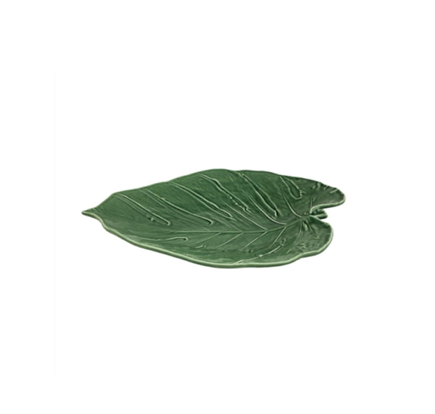 Bordallo Pinheiro Leaves Adam's Rib Platter 43 Green