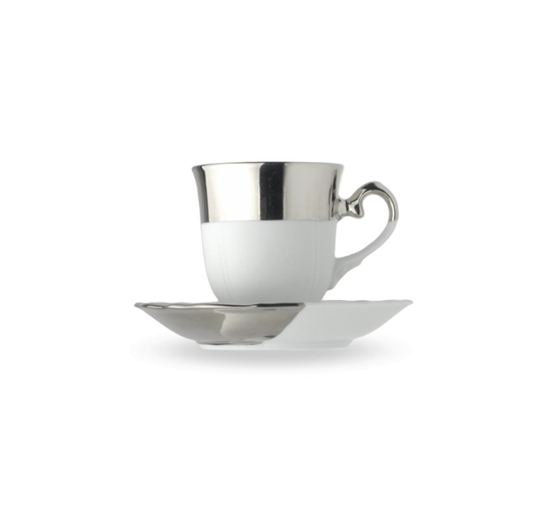 Reichenbach Silver Biscuit Cup Flat with Saucer 0.10 l