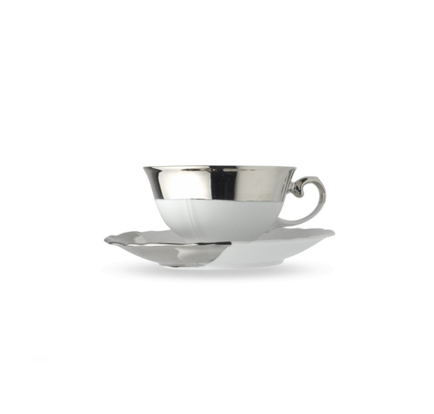 Reichenbach Silver Biscuit Cup Flat with Saucer 0.22 l - Le Papillon Gallery