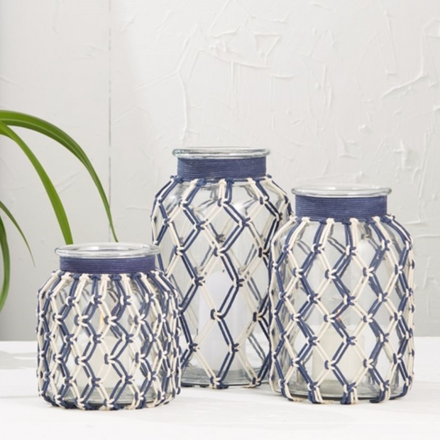 Blue and White Rope Lanterns - Le Papillon Gallery