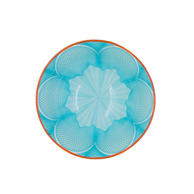 Ceramic Bowl Turquoise with Orange Border - Le Papillon Gallery