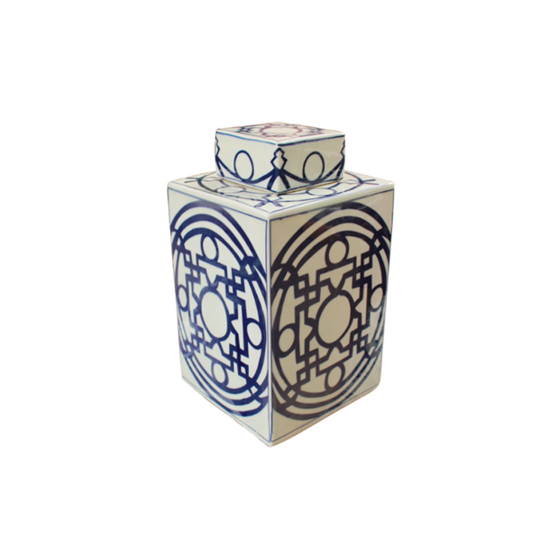 Legend of Asia B&W Square Tea Jar with Pattern of Lines