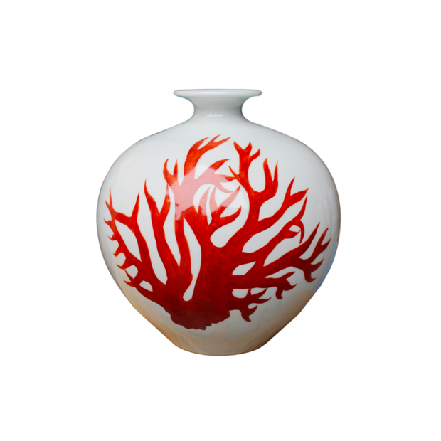 Legend of Asia White Pomegranate Vase - Red Coral - Le Papillon Gallery