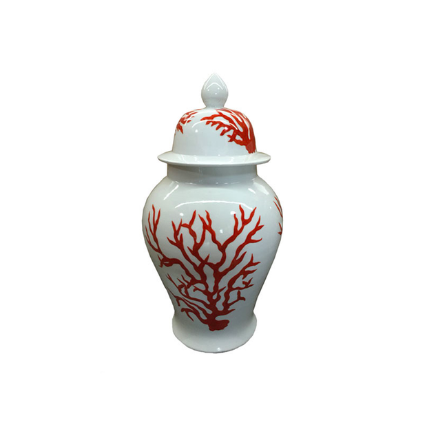 Legend of Asia White Temple Jar with Red Coral