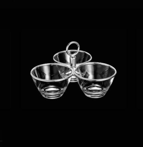 Wolff Planet Triple Appetizer Dish with Chromed Steel Rim - Le Papillon Gallery