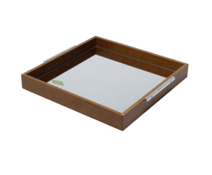 Wooden Tray with Mirror Small