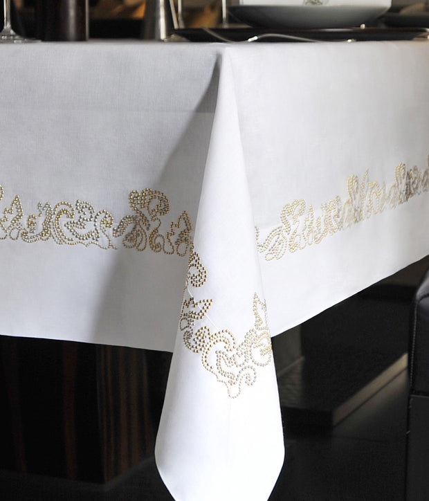 Claudia Barbari Arabesque Tablecloth White/Gold 180x320