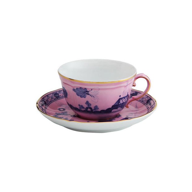 Oriente Italiano Azalea tea cup and saucer - Le Papillon Gallery