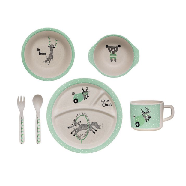 Bloomingville Bamboo Kids Serving Set Gift Box Green
