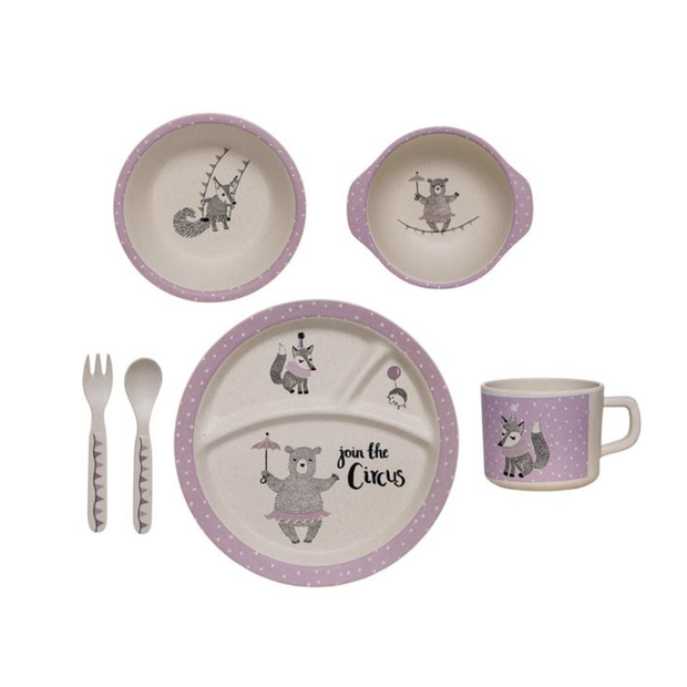 Bloomingville Bamboo Kids Serving Set Gift Box Pink