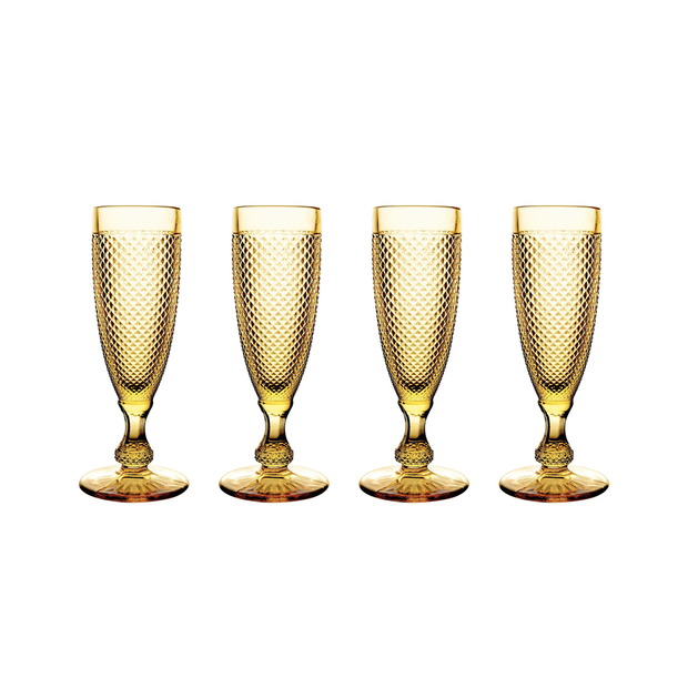 Vista Alegre Bicos Amber Flutes (set of 4)