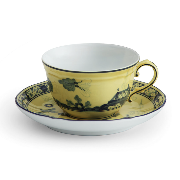 Richard Ginori Oriente Italiano Citrino Teacup Saucer - Le Papillon Gallery
