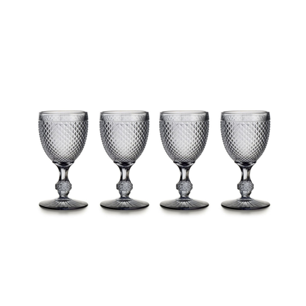 Vista Alegre Bicos Grey Water Goblets (set of 4)