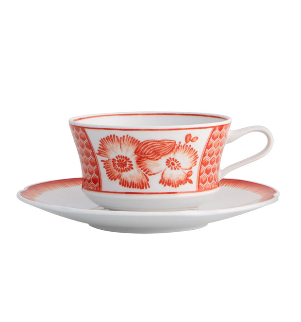 Coralina Tea Cup and Saucer - Le Papillon Gallery