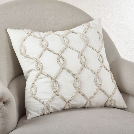 Saro Embroidered Cord Design Pillow Ivory