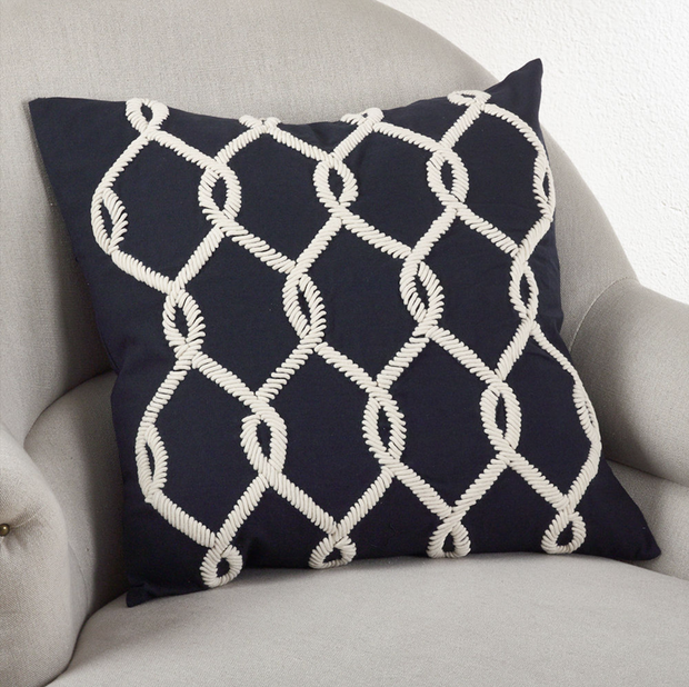 Saro Embroidered Cord Design Pillow Navy Blue - Le Papillon Gallery
